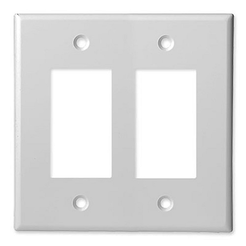SCP 200D-2G-WT DOUBLE GANG FACEPLATE-DECORATOR - WHITE