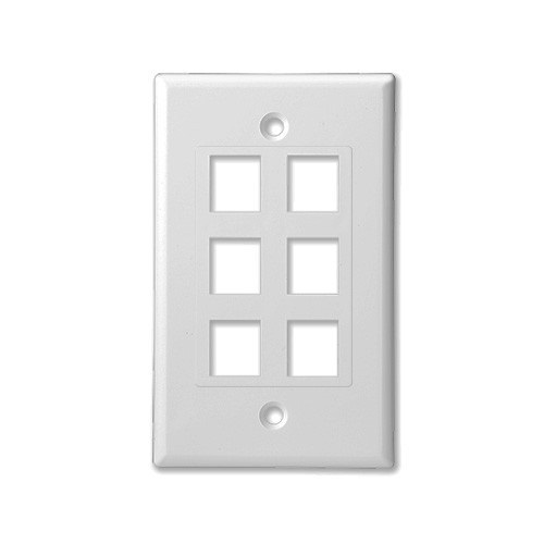 SCP 206D-WT 6 PORT DECORATOR STYLE WALL PLATE INSERT - WHITE