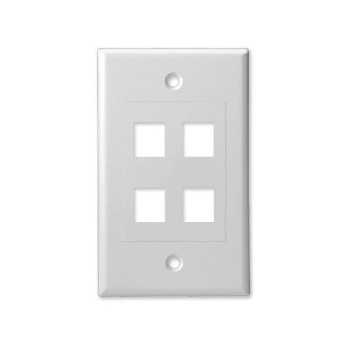 SCP 204D-WT 4 PORT DECORATOR STYLE WALL PLATE INSERT - WHITE