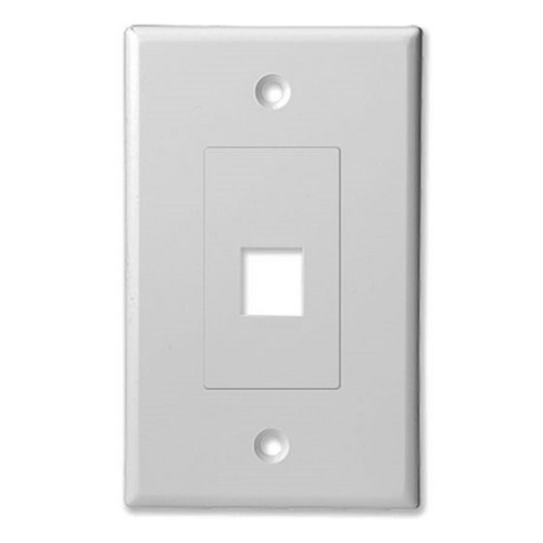 SCP 201D-WT 1 PORT DECORATOR STYLE WALL PLATE INSERT - WHITE